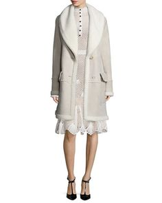 -6TXS Derek Lam  Shearling-Lined Two-Button Coat, Taupe Mock-Neck Embroidered Mesh Dress, White