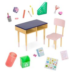 Make your doll's big ideas come to life with the Our Generation Brilliant Bureau desk set, featuring school supplies, stickers, and a fun game! Our Generation Doll Accessories, My Life Doll Accessories, American Girl Accessories, Accessories Online, Locker Accessories, Og Dolls, Girl Dolls, Baby Dolls, Barbie Doll Set