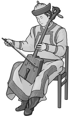 [ morinkhuur ] bowed string instrument. (Mongol)