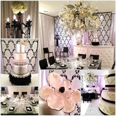 Our event showroom sparkles and shines with this black, white and silver wedding color scheme/theme. Thank you to @RoyalCakesLA @LunaGardenevent @Sarah Z (Sarah Z Events)