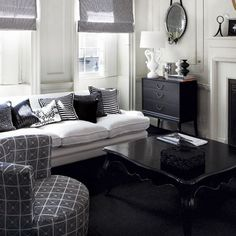 elegant black & white living room