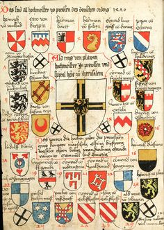 Wappen : Hochmeistern des Deutschen Orden - Preußen / Coats of Arms of The Grand Masters of Teutonic Order - Prussia / Escudos de los Gran Maestros de la Orden Teutonica Knight Orders, Medieval Shields, Crusader Knight, Military Drawings, My Family History, Medieval Knight, Chivalry, Knights Templar, Family Crest
