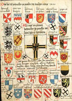 Coats of arms of the 29 grand masters of the Teutonic Order (until 1470, Heinrich Reuß von Plauen) (p. 47). -- «Wappenbuch des St. Galler Abtes Ulrich Rösch», St. Gallen, Stiftsbibliothek [Cod. sang. 1084].