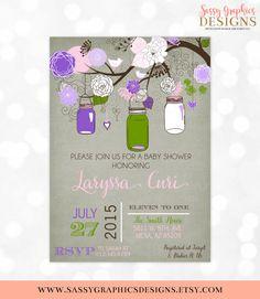 Mason Jars Baby Shower Invitation Baby Girl Floral Rustic Shabby Chic Burlap Mason Jar Purple Green Pink DIY Printable Invite PDF by SassyGraphicsDesigns