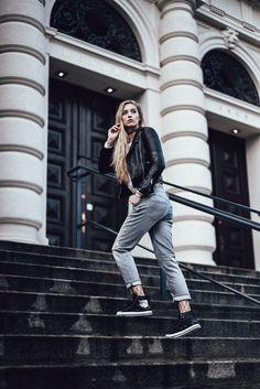 mesh thighs, leather jacket, knitwear, sneakers, grey denim Diesel, Nice Asses, People Around The World, Leather Jacket, Grey Leather, Knitwear, Thighs, Winter Jackets, Mesh