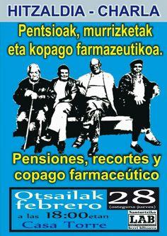 #Santurtzi-ko LAB sindikatuaren Herri Biltzarrak hitzaldia antolatu du gaurko, pentsioak, murrizketak eta botikak berrordaindu beharra gai hartuta.