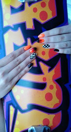 #nails #vans #vansnails #fire #firenails #ombrenails #blacknails #nailstoinspire #nails2inspire #inspiration #studiopazoor #nailsbyania #orangenails #longnails #paznokcie #inspiracjepaznokciowe #paznokciehybrydowe #paznokciezelowe #nails #nails2020 #almondnails Orange Nails, Black Nails, Fire Nails, Almond Nails, Cards, Inspiration, Biblical Inspiration, Orange Nail, Black Nail