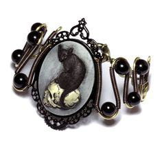 Steampunk Goth Jewelry  Bracelet  Feline / by CatherinetteRings, $50.00