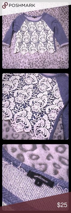 Ambiance blue with off white lace top Ambiance blue top with off white knit lace. Super pretty. Slightly cropped. Gently used. Good condition! Offers always welcome!💙 Ambiance Tops