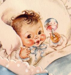 Vintage Welcome Baby Congratulations Greetings Card Vintage Baby Pictures, Baby Images, Vintage Images, Baby Illustration, Illustrations, Vintage Greeting Cards, Vintage Postcards, Baby Born Congratulations, Welcome Baby