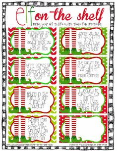 Elf on the shelf FREEBIE printable http://www.teachersnotebook.com/product/Simplysprout/freebie-elf-on-the-shelf-cards