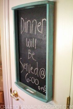 chalk board from tray! I am buying chalk board paint and doing this with something...
