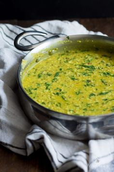 Nourishing and filling dal palak - lentils with spinach. Packed with flavor, perfect for the cooler months!