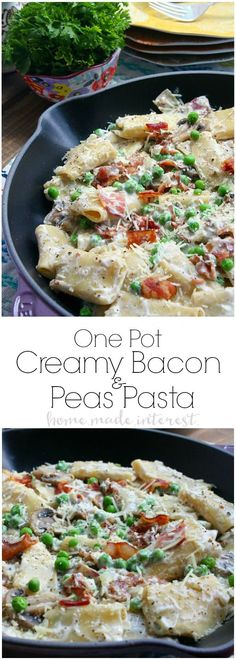 This easy One Pot Creamy Bacon and Peas takes less than 30 minutes to make! It is an easy dinner recipe that is perfect for summer when you want to spend time enjoying the sunshine and not slaving awa (Cheese Making One Pot) Italian Dishes, Italian Recipes, Pasta Dishes, Food Dishes, White Sauce Pasta, Cream Pasta, Lard, I Love Food, Easy Dinner Recipes