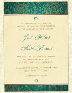 Teal paisley wedding invitation