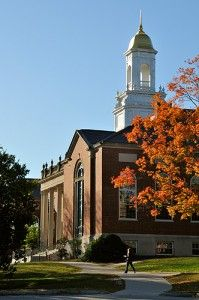 A side view of the Wilbur Cross Building.