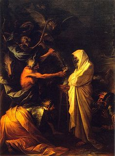 'Saúl y la bruja de Endor'. Musée du Louvre, Según las Escrituras, el rey Saúl, asustado por su próximo enfrentamiento con los filisteos, quiso consultar a Dios para conocer su destino. Al no tener respuesta, ordenó que buscasen a una bruja, a pesar de que él mismo había prohibido la adivinación. pasaje bíblico descrito en el Primer Libro de Samuel.