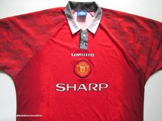 9672264b0 Manchester United 1996 1997 1998 home football shirt by Umbro vintage sharp  soccer jersey