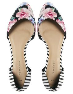 New Look | New Look Two Part Multi Print Flat Shoes at ASOS