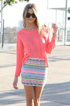 Cool spring colors in both skirt & top