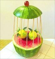 Fruit Carving for Beginners - Watermelon Baskets, Centerpieces, Garnishes Watermelon Basket, Watermelon Art, Watermelon Carving, Veggie Art, Fruit And Vegetable Carving, Veggie Food, Fruit Decorations, Food Decoration, Fruit Creations