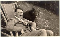 "Hitler relaxing with a pet friend in the earlier days of the movement. Photographs of such idyllic manner were often published in the years roughly up to 1937. As soon as the grand military plans took to rolling, however, the public persona of ""The Leader"" was quickly remodelled along the lines of a purposeful, focused, and successful soldier and strategist (to the grief of the Nazis, both qualities had nothing to do with Hitler)."