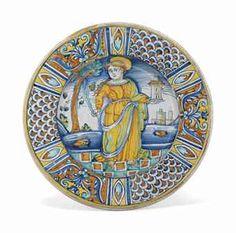Deruta majolica ca. 1530. St. Barbara.