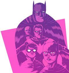 Batman family art By Dan Hipp Dc Comics, Batman Comics, Batman And Superman, Superhero Characters, Comic Book Characters, Comic Character, Cartoon Network, Art Of Dan, Batman Artwork