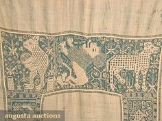 Augusta Auctions, October 2006 Vintage Clothing & Textile Auction, Lot 302: Italian Linen  Lace Table Cover, 16th C