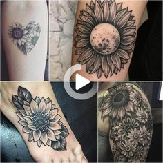 Sunflower Tattoo Meaning, Sunflower Tattoo Sleeve, Sunflower Tattoo Shoulder, Sunflower Tattoos, Sunflower Tattoo Design, Tattoos For Women Flowers, Tattoos For Guys, Tattoo Signification, Baby Bear Tattoo