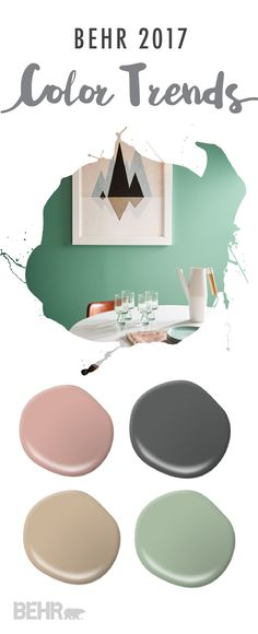 Soft neutrals get a trendy spin thanks to the BEHR 2017 Color Trends. Opt for Everything's Rosy as the perfect blush tone, Midnight Show for a dramatic paint shade, and Balanced as the ideal neutral paint color for your eat-in breakfast nook.