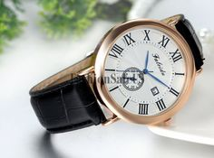Mens Business Casual Roman Dial With Date Analog Quartz Wrist Watch Leather Band #Unbranded #Casual