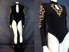 80's 90's Black & Gold Unitard Bodysuit by MirrorballBoutique