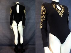 80's 90's Black & Gold Unitard Bodysuit by MirrorballBoutique