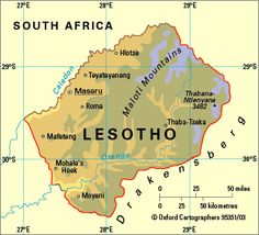 Map showing the location of the MalotiDrakensberg Mountains Park a