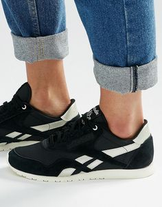 Image 1 of Reebok Classic Trainers In Black With Silver Trim