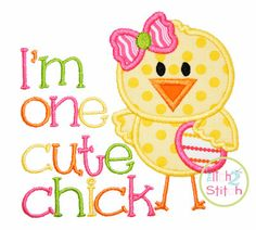 One Cute Chick  Applique Design For Machine Embroidery Hoop size(s): 5x5, 6x6 & 7X7 INSTANT DOWNLOAD now available