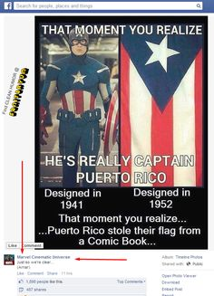 "The Captain America/Puerto Rico pic  AND Marvel's majestic response. lol #funny #CaptainAmerica #Marvel #PuertoRico   ▀▄▀ More daily clean humor @ Sanitaryum  ▀▄▀ ""We aggregate & ""sanitize"" humor for you."" Family safe. :)"