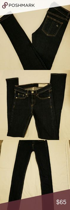 """Never worn Rag & Bone High Rise Skinny jeans sz:25 Color: HERITAGE  Style: W1513K520 Cut: 5128 98% Cotton and 2% polyurethane   Approximately: 12.5"""" wait when laid flat, 8"""" rise, 29"""" inseam and 39"""" full length from top to bottom. rag & bone Jeans Skinny"""
