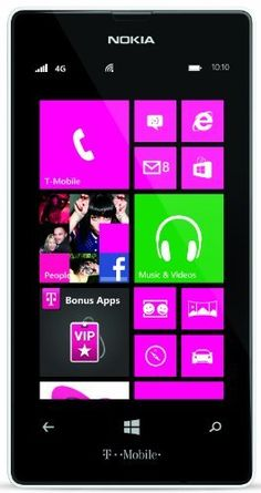 Nokia Lumia 521 (T-Mobile) (610214632074) 4G Windows 8 Smartphone with a T-Mobile SIM card included 4 inch  WVGA LCD display 5MP Camera - Snap creative photos with built-in digital lenses Dual Core (1GHz) Processor Listen to your favorite songs with Nokia Music