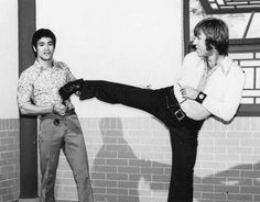 Bruce Lee and Chuck Norris doing promotional work for Way of the Dragon