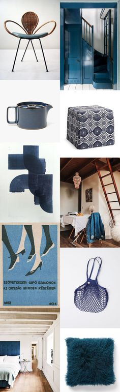 sfgirlbybay / bohemian modern style from a san francisco girl Dark Blue Wallpaper, Blue Wallpapers, Blue Headboard, San Francisco Girls, Mad About The House, Blue Abstract Painting, Touch Lamp, Color Stories, Chinoiserie