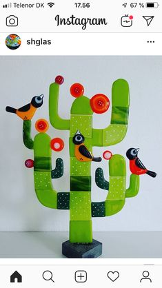 Glass Cactus, Glass Flowers, Yard Art, Mosaics, Fused Glass, Jars, Glass Art, Ideas, Glass
