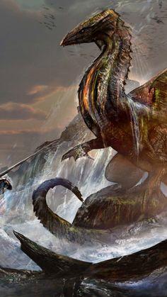 Warrior and dragon, fantasy, 720x1280 wallpaper
