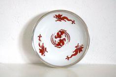 Meissen Red Dragon, Meissen Plate, Meissen Porcelain, Silver Plate, Meissen Ming Dragon Plate, Silver Rim Meissen Plate, Red Dragon