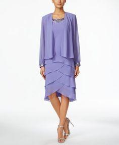 SL Fashions Beaded Tiered Dropwaist Dress and Jacket - Dresses - Women - Macy's