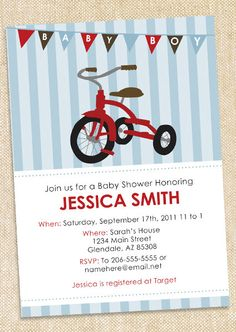Tricycle  Baby shower invitations  SET OF 12 by polkaprints, $15.00