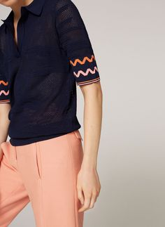 Openwork knit polo shirt - Tops and t-shirts - Ready to wear - Uterqüe Ireland