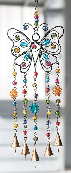 Butterfly Wind Chime with Mixed Beads and Conical Bells Fair Trade.Very pretty coloured beads and ironwork make up this butterfly windchime. Wire Crafts, Bead Crafts, Arts And Crafts, Mobiles, Wire Wrapped Jewelry, Wire Jewelry, Handmade Jewelry, Butterfly Wind Chime, Diy Wind Chimes
