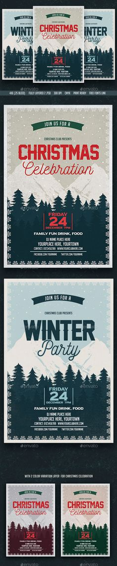 Christmas Celebration & Winter Party Flyer Template PSD #design #xmas Download: http://graphicriver.net/item/christmas-celebration-winter-party-flyer/13505209?ref=ksioks                                                                                                                                                                                 Más